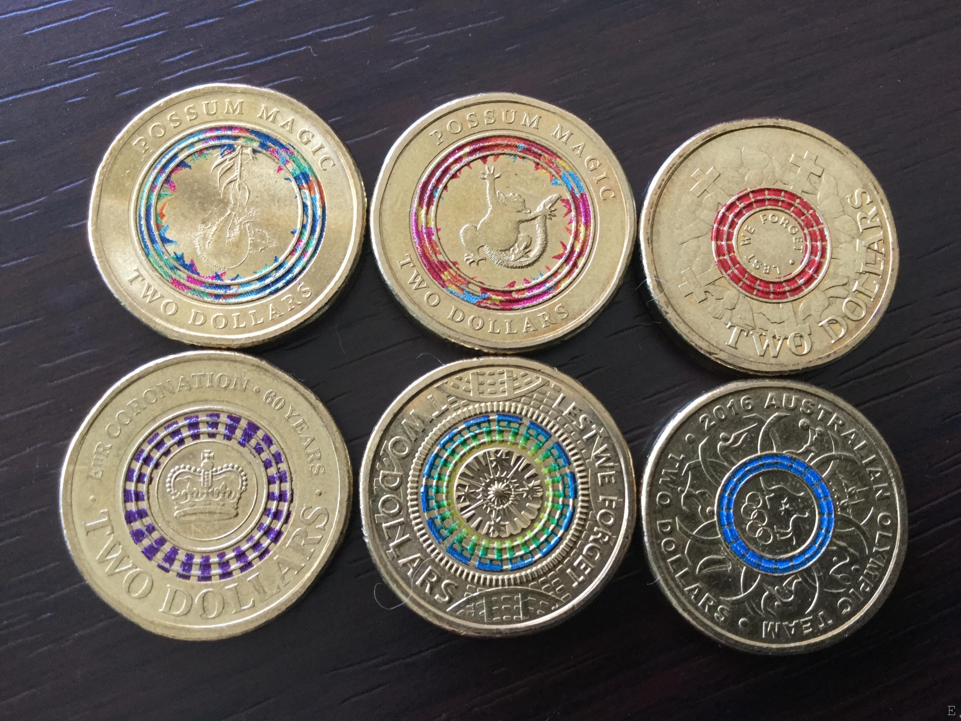オーストラリアの色付き$2コインコレクション