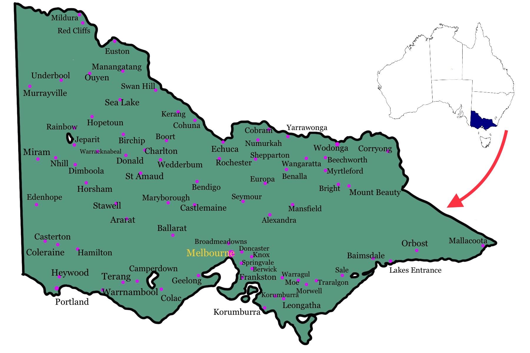 ビクトリア州地図